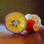 Scott Kiche, Orange by Cool Light, oil, 8 x 8.