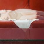 Robert Lemler   Red Couch, oil, 13 x 27.