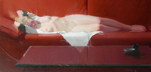 Robert Lemler | Red Couch, oil, 13 x 27.