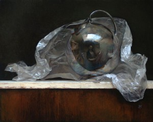 Silver Globe Pitcher, oil, 12 x 16. 
