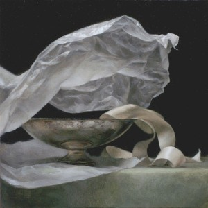 Wax Paper and Ribbon, oil, 12 x 12.