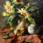 Ralph Grady James, Sunflowers, oil, 20 x 20.
