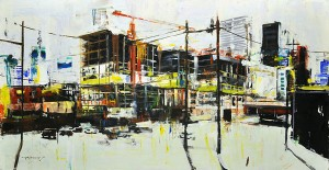 Robert Spooner, Under Construction, oil, 29 x 57.