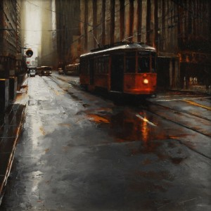 Stalled on Market, oil, 12 x 12.