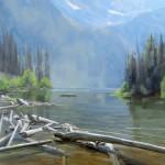 Dave Santillanes, String Lake, oil, 36 x 36.