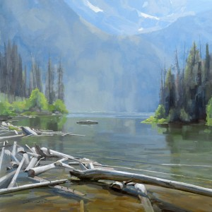 Dave Santillanes, String Lake, oil, 36 x 36.