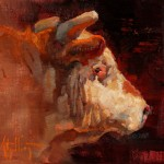 Abigail Gutting, The Bull, oil, 8 x 10.