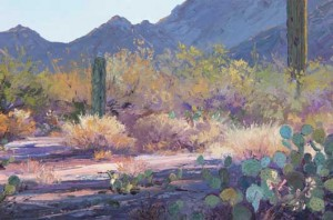 Carol Swinney, The Pastel Desert, oil plein-air painting
