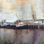 Jackson Lain, Tugboats, oil, 36 x 48.