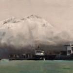 Jackson Lain, Unloading, oil, 24 x 48.