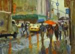 Ken Valastro, Red Umbrella, oil, 30 x 40.