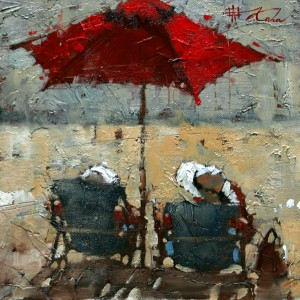 Andre Kohn, Waiting for the Sunset, oil, 10 x 10.