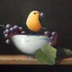 Sarah Siltala, Warbler with Grape, oil, 8 x 10.