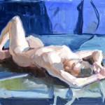 Kevin Weckbach, Blue Shades, oil, 19 x 27.