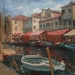 William J. Kalwick, Jr., Italian Fishing Village, oil, 19 x 24.