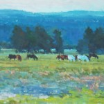 Xiaogang Zhu, Grazing After Sunset, gouache, 10 x 20.